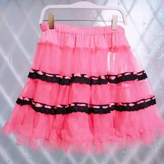 エーシーディーシーラグ(ACDC RAG)のUSEDパニエスカート☆黒×ピンク(ミニスカート)