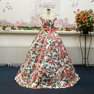 ウエディングドレス(パニエ無料) ピンク&グリーン花柄/白ベース 披露宴/二次会(ウェディングドレス)