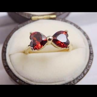 即購入OK:赤レッドストーンリボンゴールドカラーリング指輪 (リング(指輪))