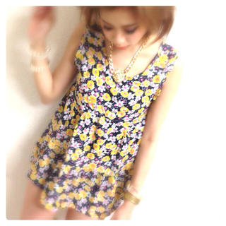 小花柄Aラインミニワンピ♡イエロー(ミニスカート)