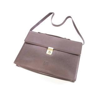 ロエベ(LOEWE)のロエベ  グレインレザー製ビジネスバッグ ショルダー付き ダークブラウン(ビジネスバッグ)