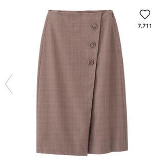 ジーユー(GU)の今季GU☆ ラップミディスカート(チェック)WT(ひざ丈スカート)