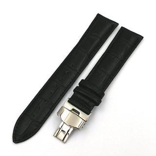 腕時計 替えレザーベルト クロコ型押 Dバックル付 ブラック(レザーベルト)