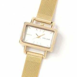 ニコアンド(niko and...)のnikoand… ニコアンド 腕時計 ゴールド スクウェア メッシュウォッチ(腕時計)