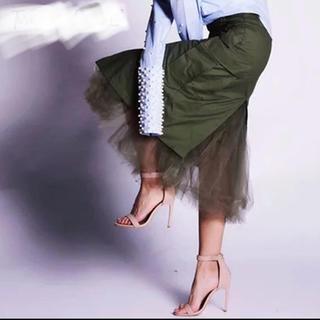 ザラ(ZARA)の✨大人格好良い ベーカースカート チュール付き オリーブ カーキ(ロングスカート)