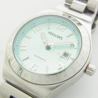 パーソンズ ロゴ アナログ デイト 腕時計 クォーツ ウォッチ 新品電池 作動品