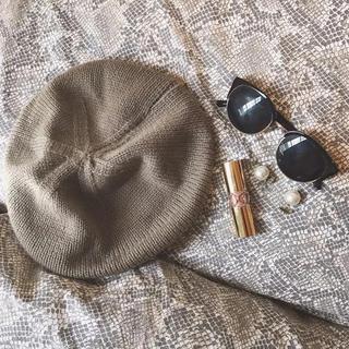 ザラ(ZARA)のニットベレー帽 ❤︎ モカ ベージュ(ハンチング/ベレー帽)