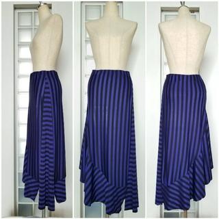 ザラ(ZARA)のZARA BLUE &Black ストライプスカート(ひざ丈スカート)