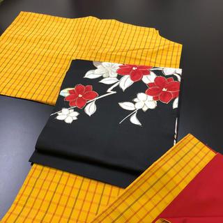 正絹、袷、紬、黄色の格子柄。(帯は別売り)(着物)