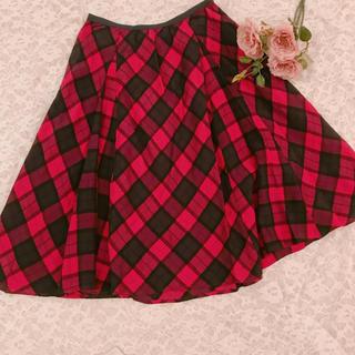 チェスティ(Chesty)のchesty♡赤チェックフレアスカート(ひざ丈スカート)