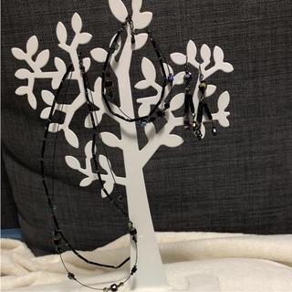 キワセイサクジョ(貴和製作所)の2点で1割引 新品 ビーズネックレス&ブレスレット&ピアス(ブロンズ色)(ネックレス)