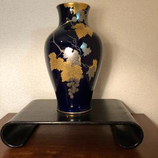 オクラ(OKURA)の大倉陶園OKURA 瑠璃金蝕葡萄花瓶 金蝕ぶどう 36cm(花瓶)