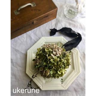 瑠璃玉アザミと秋色紫陽花のアンティーク ボールフライング リース ドライフラワー(ドライフラワー)
