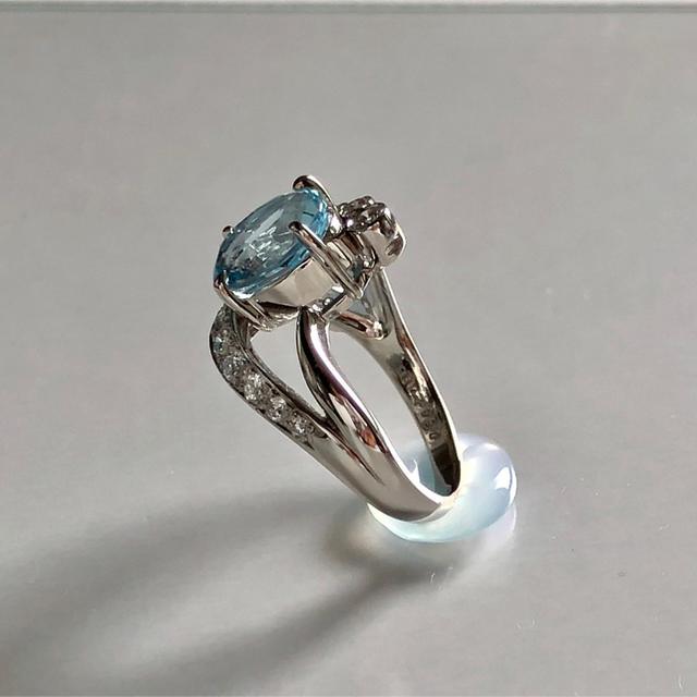 POLA 大粒2.00ctアクアマリン・ダイヤモンドリング/PT レディースのアクセサリー(リング(指輪))の商品写真