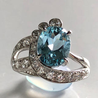 POLA 大粒2.00ctアクアマリン・ダイヤモンドリング/PT(リング(指輪))