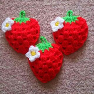 赤色のイチゴのエコたわしBアクリルたわし(キッチン小物)