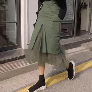ザラ(ZARA)のSALE✨大人格好良い ベーカースカート チュール付き カーキ(ロングワンピース/マキシワンピース)