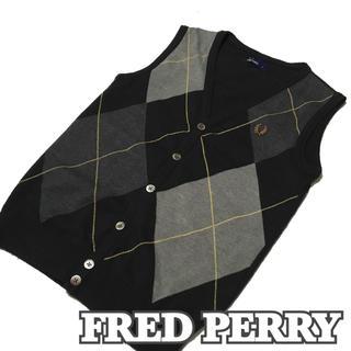 フレッドペリー(FRED PERRY)の正規品【FRED PERRY】フレッドペリー アーガイル模様ニットベスト大きめS(ベスト)