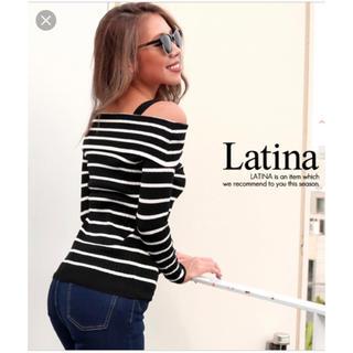 アナップラティーナ(ANAP Latina)の【新品・未使用】【完売】ANAP Latina ボーダーオフショルニット 黒(ニット/セーター)