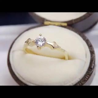 即購入OK:シンプルアンティーク調czダイヤモンドゴールドカラーリング指輪(リング(指輪))