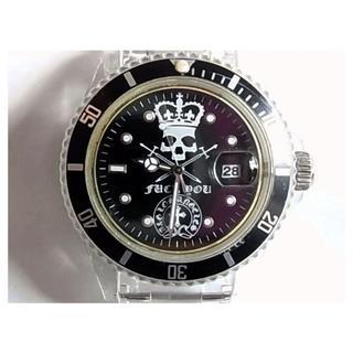 エーアンドジー(A&G)のA&Gエーアンドジー腕時計ウォッチ回転ベゼル黒色ブラック文字盤スカル花文字(腕時計(アナログ))