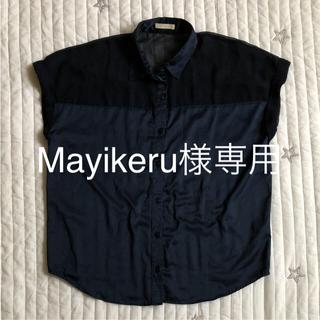 ジーユー(GU)のシャツ ネイビー(シャツ/ブラウス(半袖/袖なし))