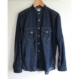 デラックス(DELUXE)のDELUXE CLOTHING ノーカラー デニムシャツ Mサイズ(シャツ)