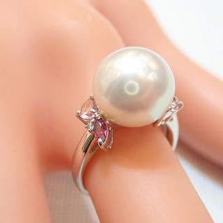 ■K18WG 南洋真珠(白蝶真珠)パールリング 11.8mm ダイヤモンド色石(リング(指輪))