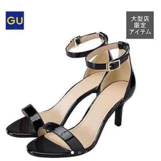 ジーユー(GU)の【美品】GU アンクルストラップ エナメル サンダル  パンプス S ブラック(サンダル)