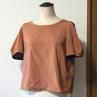 マメ(mame)の定価2.5万ボリュームスリーブ テラコッタ 半袖ブラウス(シャツ/ブラウス(半袖/袖なし))