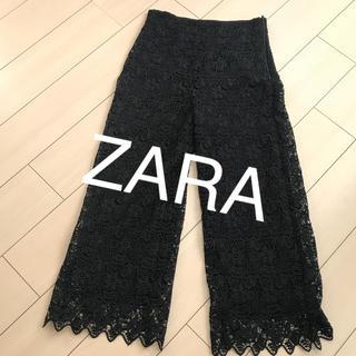 ザラ(ZARA)のザラ レース ワイドフレアパンツ (バギーパンツ)