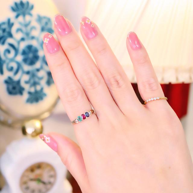 14金✩華やかなマルチカラーのエタニティリング⋆アガット クロチェ お好きな方 レディースのアクセサリー(リング(指輪))の商品写真