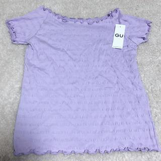 ジーユー(GU)のリブワイドネックTシャツ❤️新品タグ付(Tシャツ(半袖/袖なし))
