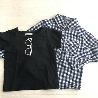 サルース(salus)のサルース キッズ チェックシャツ セット Tシャツ メガネ おしゃれ 100(ジャケット/上着)