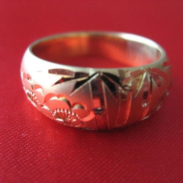 18K18金 松竹梅 リング 14号 9.14g 新品 和風  レディースのアクセサリー(リング(指輪))の商品写真