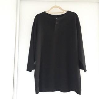 MUJI (無印良品) - 綿混ワッフルヘンリーネックドロップショルダー五分袖Tシャツ