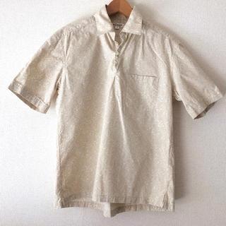 美品◆ofuonミッシェルクラン ペイズリー柄シャツ アロハシャツ 綿Mベージュ