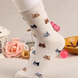 猫くつ下 ネコちゃん靴下 ベージュ♪レディースソックス 新品未使用品 送料無料(猫)