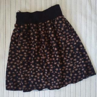 ポップな花柄 起毛素材 ひざ上スカート(ひざ丈スカート)