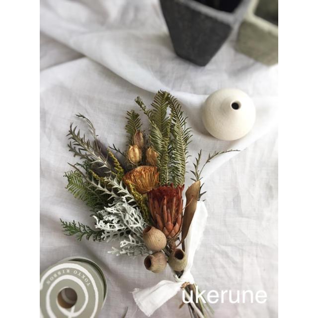 ドライアンドラとピンクッション ベルギーナッツの秋色 スワッグ  ドライフラワー ハンドメイドのフラワー/ガーデン(ドライフラワー)の商品写真