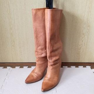 サヤラボキゴシ(SAYA / RABOKIGOSHI)の数回使用のみ!天然皮革 ロングブーツ キャメル(ブーツ)