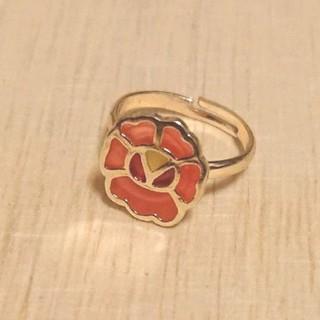 オレンジお花モチーフリング 新品未使用(リング(指輪))