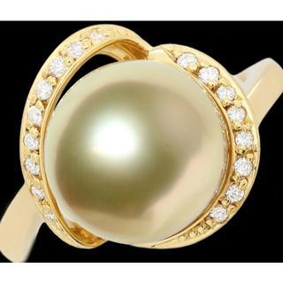 南洋 白蝶真珠 ゴールデン 10ミリ ダイヤ リング 指輪 K18 12号(リング(指輪))