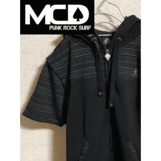 エムシーディーマシン(M.C.D MACHINE)のMCD パーカー 半袖 Mサイズ 刺繍 黒 プルジップ(パーカー)