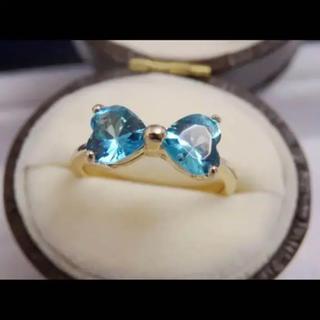 即購入 OK:ライトブルー水色ストーンリボンゴールドカラーリング指輪(リング(指輪))