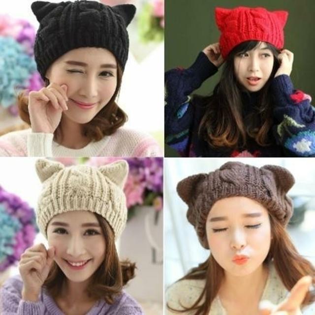 新品♥️猫耳ちょこんがちょーかわいい♪ニット帽子 全5色 期間限定価格! レディースの帽子(ニット帽/ビーニー)の商品写真