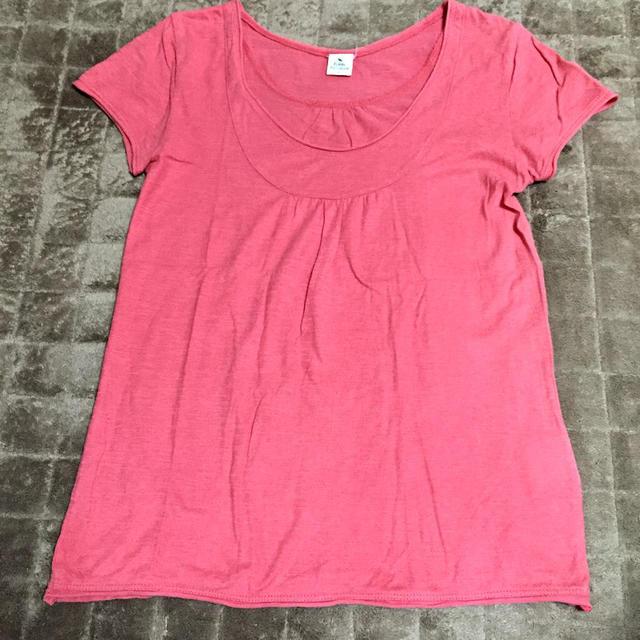 サーモンピンク 半袖Tシャツ レディースのトップス(Tシャツ(半袖/袖なし))の商品写真