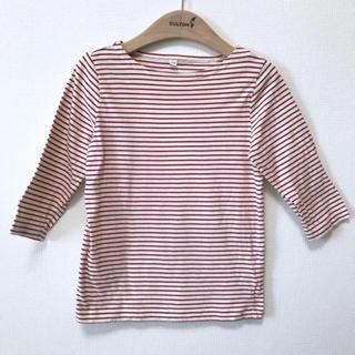 MUJI (無印良品) - ☆無印良品 毎日のこども服 七分袖カットソー ボーダー  赤 サイズ120センチ