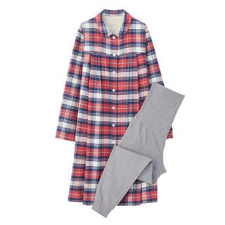 新品  無印良品  脇に縫い目のないフランネル授乳に便利な長袖パジャマ
