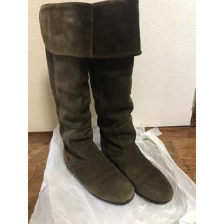 ギンザカネマツ(GINZA Kanematsu)の銀座 かねまつ ダークグリーンスエード ロングブーツ(ブーツ)